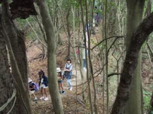 ハイキング中