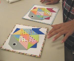 折り紙を貼って、自分だけのお魚にな~れ!